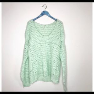 Free People Crashing Waves Mint Pullover Sweater